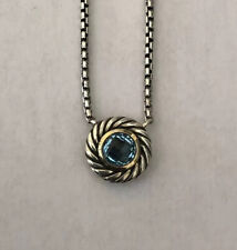David Yurman Blue Topaz Cookie Box Chain Necklace Sterling Silver And 18K Gold
