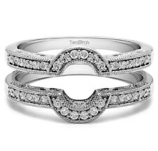 Sterling Silver Oval Shaped Halo Style Ring Guard (0.21tw)