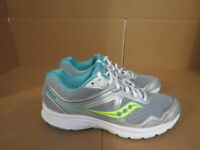 WOMENS SAUCONY GRID COHESION 10 GRAY WHITE TEAL RUNNING SHOES SIZE 9M A556