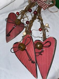 Love Red Wood Hearts (3) Hanging Sign Plaque Rustic Country Farmhouse Wall Decor