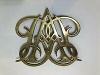 Vintage Virginia Metalcrafters Queen Anne Cypher Brass Trivet Williamsburg