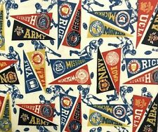 Vintage Fabric 4 Pieces various sizes College Football Pendants Crafts Quilting