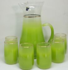 West Virginia Blendo Glass 7 Pc Juice Set Frosted Spring Green 22K Trim NOS MIB