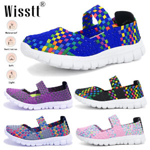 Women Breathable Trainers Sneakers Ladies Mesh Comfy Slip On Sport Fitness Shoes