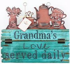 """New  Red Shed Wood Garden Sign """"Grandma's love served daily"""" Decor Diecut"""