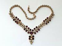 """Vintage 15.75"""" Diamante Diamond Paste Clear Purple Necklace"""