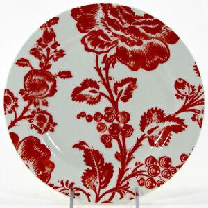 """Anthropologie RED DAMASK 8"""" Dessert Plate Rose Floral Flower"""