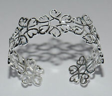 Hallmarked  Silver 925 Entwined Heart Design Ladies Bracelet Cuff Bangle. UK