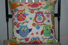 Cushion cover made in Twit twoo fabric with plain blue reverse