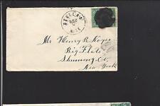 OSHTEMO, MICHIGAN 3CT BANKNOTE COVER TO BIG FLATS N.Y., KALAMAZOO CO 1857/OP.