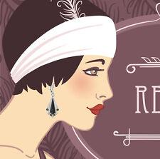 Flapper Girl 1920's Silver Black Deco Drop Earrings Vintage Style Accessories