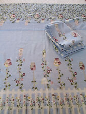 Cafe Curtain Panels ~ Blue BIRDHOUSE Garden Picket Fence ~ 5 Panels, 1 Valance