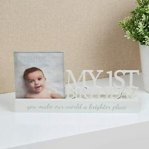 My 1st Birthday Wooden Photo Frame Plaque Keepsake New Baby Boy Girl Gift