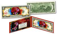 Chinese ZODIAC Genuine U.S. $2 Bill Red Polychrome Blast * YEAR of the SNAKE *