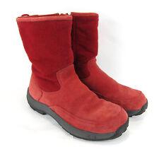 L.L. Bean Boots Suede Fleece Red Side Zip US 7.5 M Suede Fleece Red 05455 Women
