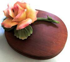 Vintage Andrea by Sadek Porcelain Rose on Wood Base Made in Japan