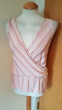 ladies TOPSHOP pink top size 10 stripe V front and back festival casual