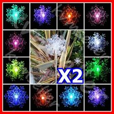 Set of 2 Solar Powered Snowflakes 3D Garden Yard Stake Pathway Lawn LED Light