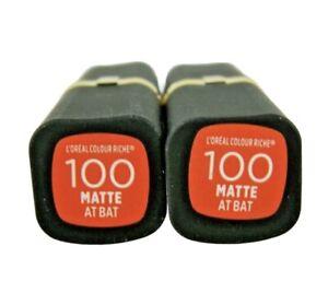 L'Oreal Paris Colour Riche Matte Lip Color Lipstick #100 At Bat 2 Pack