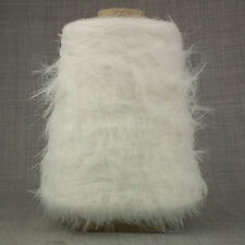 SUPER SOFT 4 PLY FEATHER EYELASH YARN WHITE 500g CONE 10 BALL FANCY GYPSY LONG