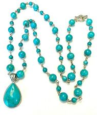 """Whitney Kelly Sterling Silver & Turquoise Bead Enhancer Pendant Necklace 36"""""""