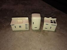 Vintage Ideal Dollhouse Miniatures Kitchen Appliance Set White Fridge Stove Sink