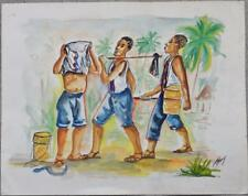 HAITIAN ARTIST: THONY ORIGINAL WATERCOLOR PAINTING HAITI VILLAGE WORKERS