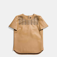 COACH Embellished Studded Camel Tan Leather Tee Shirt Top Womens XS NEW $695