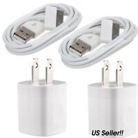 2x USB Home AC Wall + 2x 30Pin Data Sync Cable For iPod iPhone 3G 4 4S