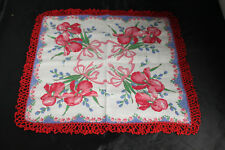 Vintage Handkerchief/Hankie/Hanky Red and Blue Flower Crocheted edge