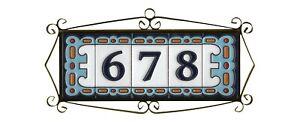 Handmade Abstract Blue Spanish Ceramic House Number Letter Tiles & Metal Frames