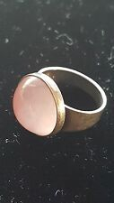 VINTAGE NE FROM ROSA QUARTZ STERLING RING 6.5 DENMARK