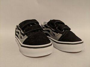 Vans New Old Skool V Suede Flame Black/True White Vault Toddler Size USA 5