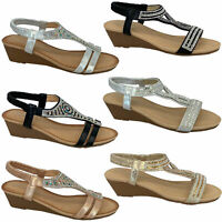 Ladies Wedge Sandals Womens Sling Back Open Toe Diamante Shoes Summer Fashion