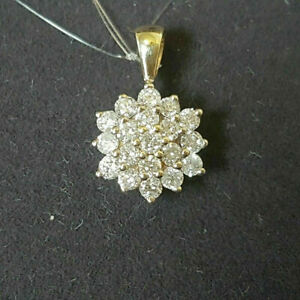 0.50Ct Round VVS1 Diamond Cluster Pendant 14K White Gold Finish With Free Chain