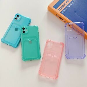 Clear Soft Gel Case Cover With Card Slot Holder For iPhone 13 12 11 Pro Max