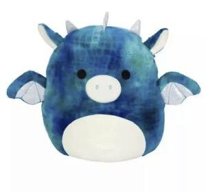 "Squishmallow 5"" Dragon DOMINIC Blue Tie dye Kellytoy New NWT"