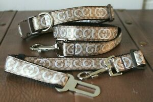 Collarcraft Tan Chain Print Dog Collar and Lead Set French Bulldog Wedding Puppy