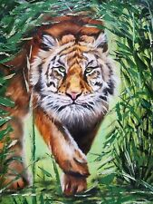 Original Oil Painting of Tiger in Green Grass Wildlife Animals Nature Endangered