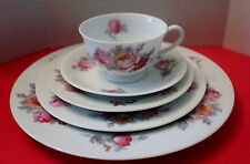 Sango Pink Yellow Roses Blue Green Leaves SAN 5- 5 Piece Place Setting