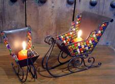 Christmas Sleigh Candle Holder Set 2 Piece Wrought Iron With Beadwork 22x11x19cm