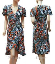 Cocktail Party Day Dress Orange Blue Firework Plus Size 24 22 20 18 16 14 12 New
