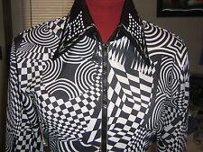 M 34/36 bust BLACK WHITE zip western show shirt Horsemanship rail pleasure