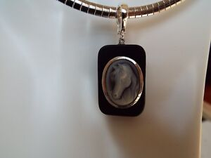 Agate carved cameo set in African Ebony wood and Italian silver