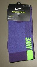 NIKE~Men 8-12 Women 10-13~2 Pair Grand Purple & Volt Multiplier Crew Socks