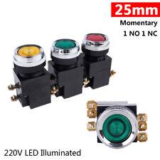 25mm Led Illuminated Momentary Push Button Switch 1 No 1 Nc Onoff 220v La19 11d