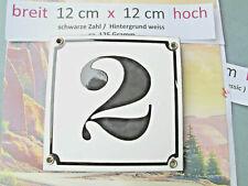 Hausnummer Emaille  Nr. 2 schwarze Zahl auf weißem Hintergrund 12 cm x 12 cm