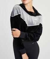 NIKE Womens New Black NSW Colorblock Plush Heritage Hoodie Sweater Pullover XL