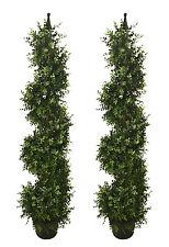 "2 ARTIFICIAL 46.5"" Eucalyptus SPIRAL TOPIARY IN OUTDOOR TREE POT PLANT BUSH"