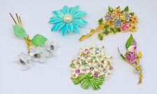 Vintage Pastels Rhinestone Austria Enamel Flower Brooch Pins Lot